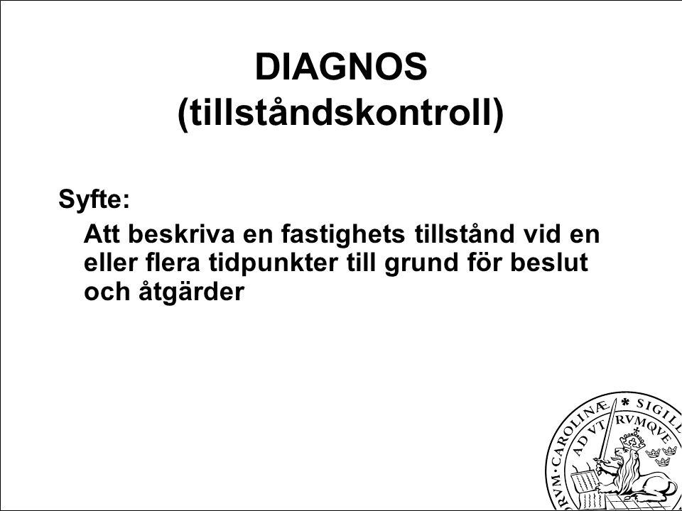DIAGNOS (tillståndskontroll) Syfte: Att beskriva en fastighets tillstånd vid en eller flera tidpunkter till grund för beslut och åtgärder