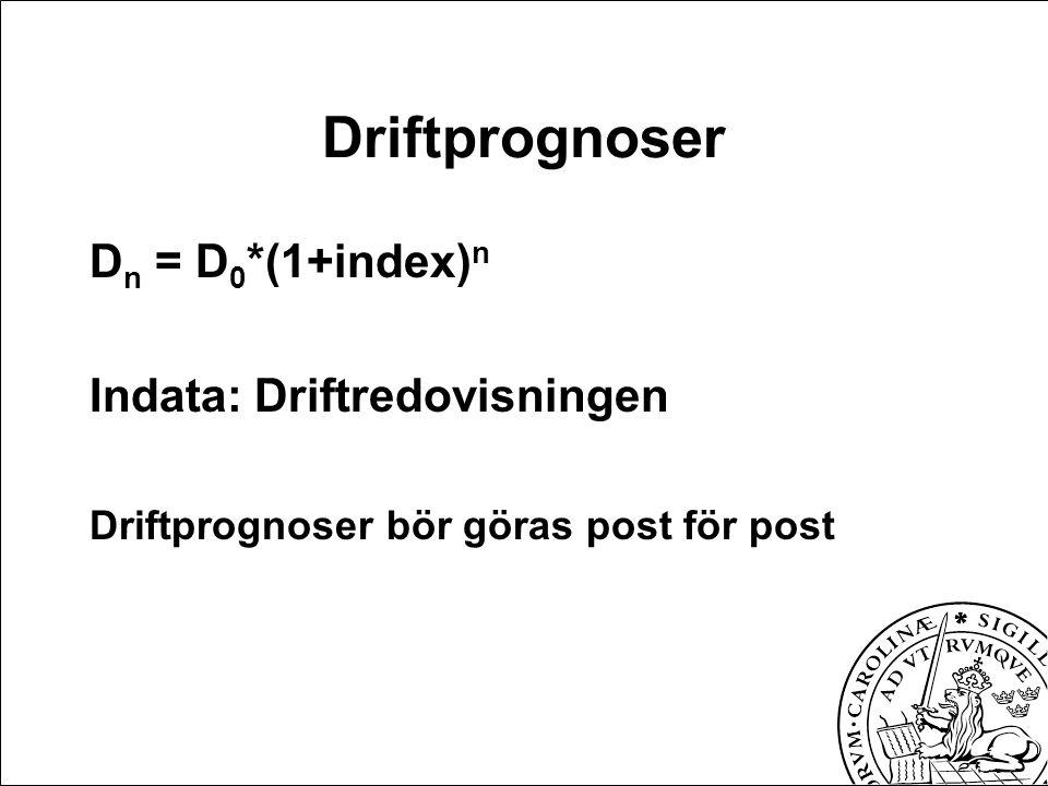 Driftprognoser D n = D 0 *(1+index) n Indata: Driftredovisningen Driftprognoser bör göras post för post