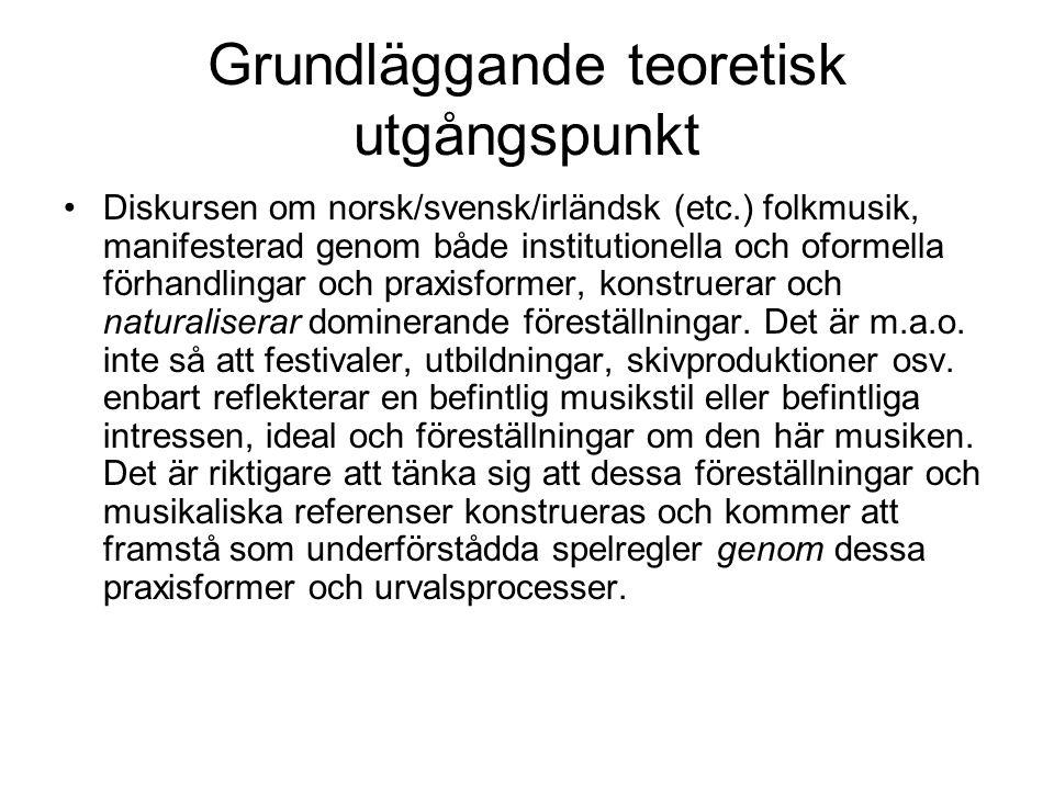 Grundläggande teoretisk utgångspunkt Diskursen om norsk/svensk/irländsk (etc.) folkmusik, manifesterad genom både institutionella och oformella förhandlingar och praxisformer, konstruerar och naturaliserar dominerande föreställningar.