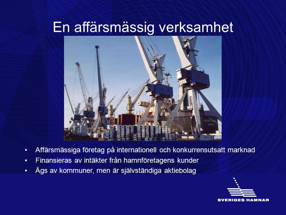 En affärsmässig verksamhet Affärsmässiga företag på internationell och konkurrensutsatt marknad Finansieras av intäkter från hamnföretagens kunder Ägs