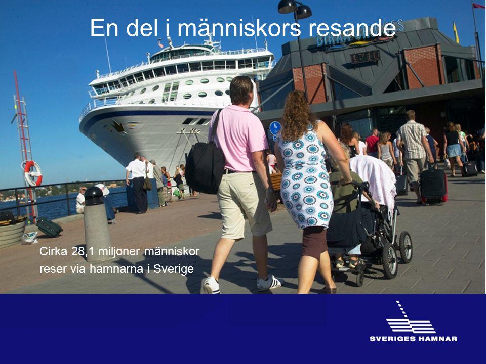En del i människors resande Cirka 28,1 miljoner människor reser via hamnarna i Sverige