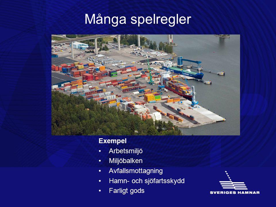 Många spelregler Exempel Arbetsmiljö Miljöbalken Avfallsmottagning Hamn- och sjöfartsskydd Farligt gods