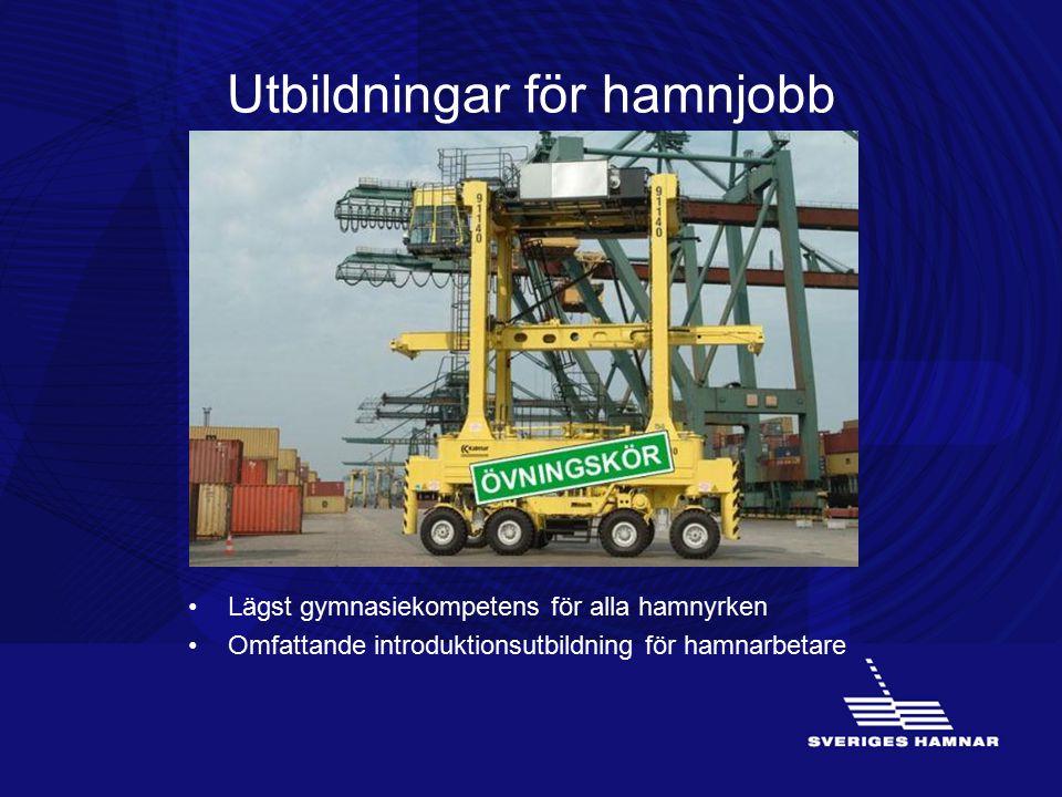 Utbildningar för hamnjobb Lägst gymnasiekompetens för alla hamnyrken Omfattande introduktionsutbildning för hamnarbetare