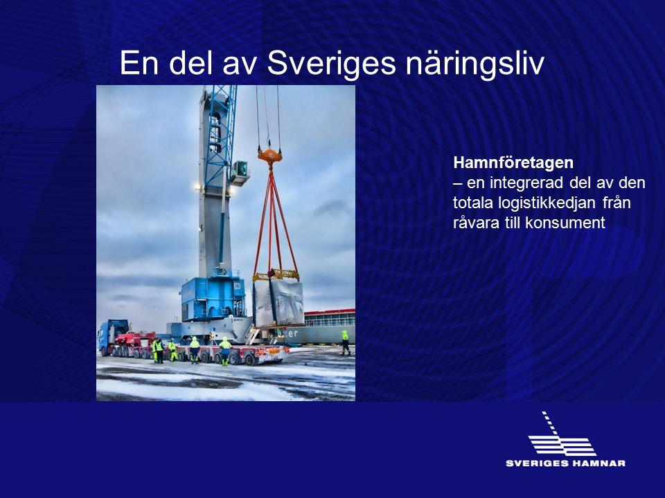 En del av Sveriges näringsliv Hamnföretagen – en integrerad del av den totala logistikkedjan från råvara till konsument