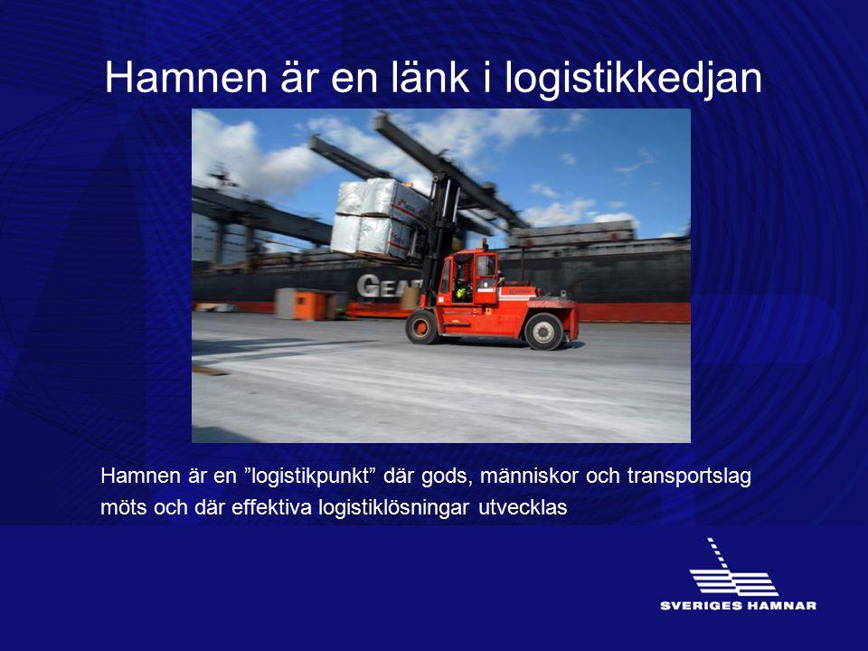"""Hamnen är en länk i logistikkedjan Hamnen är en """"logistikpunkt"""" där gods, människor och transportslag möts och där effektiva logistiklösningar utveckl"""