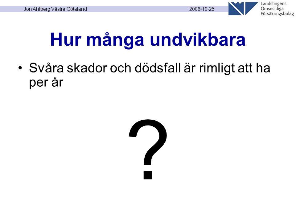 2006-10-25 Jon Ahlberg Västra Götaland Hur många undvikbara Svåra skador och dödsfall är rimligt att ha per år