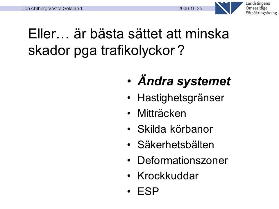 2006-10-25 Jon Ahlberg Västra Götaland Ändra systemet Hastighetsgränser Mitträcken Skilda körbanor Säkerhetsbälten Deformationszoner Krockkuddar ESP E