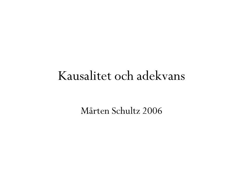 Kausalitet och adekvans Mårten Schultz 2006