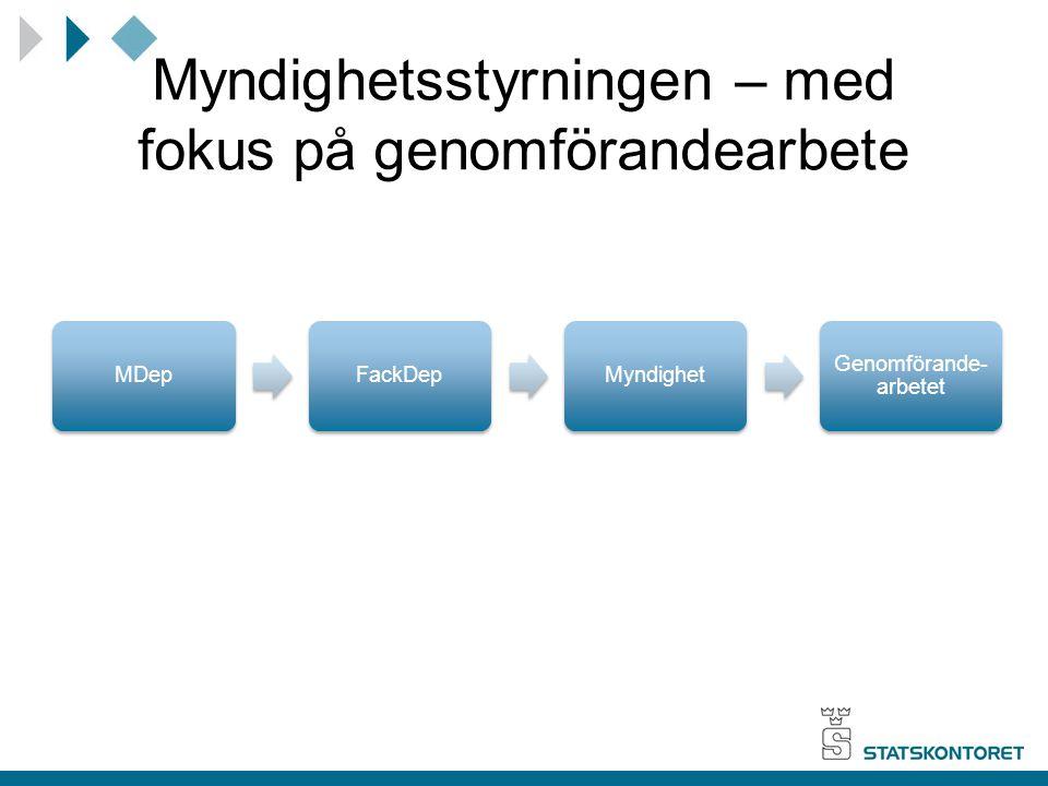 Myndighetsstyrningen – med fokus på genomförandearbete MDepFackDepMyndighet Genomförande- arbetet
