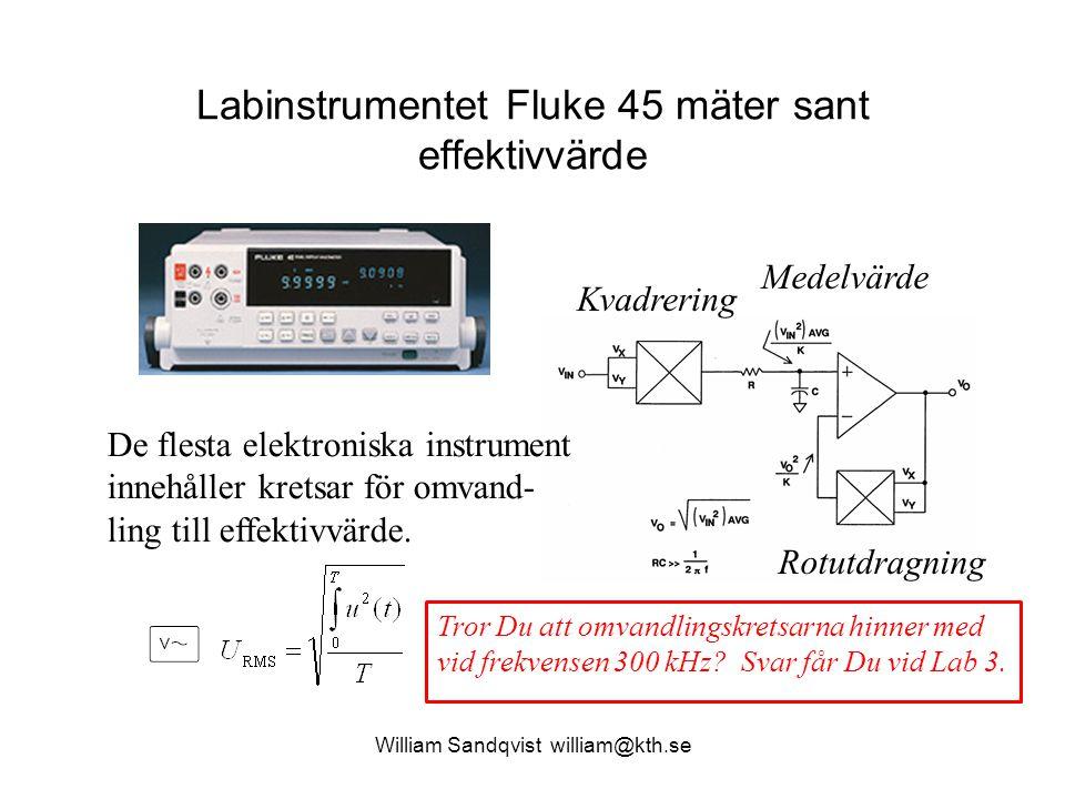 William Sandqvist william@kth.se Labinstrumentet Fluke 45 mäter sant effektivvärde Medelvärde Kvadrering Rotutdragning De flesta elektroniska instrume