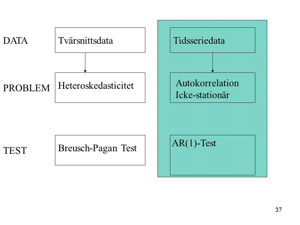 37 TvärsnittsdataTidsseriedata Heteroskedasticitet Autokorrelation Icke-stationär Breusch-Pagan Test AR(1)-Test PROBLEM DATA TEST