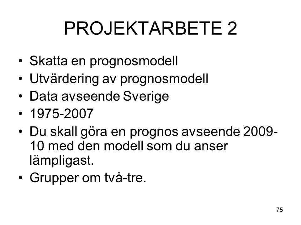 75 PROJEKTARBETE 2 Skatta en prognosmodell Utvärdering av prognosmodell Data avseende Sverige 1975-2007 Du skall göra en prognos avseende 2009- 10 med