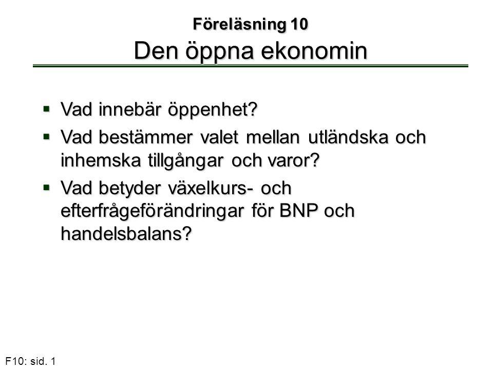 F10: sid. 1 Föreläsning 10 Den öppna ekonomin  Vad innebär öppenhet?  Vad bestämmer valet mellan utländska och inhemska tillgångar och varor?  Vad