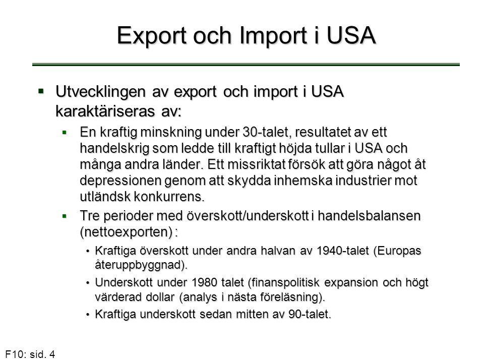 F10: sid. 4 Export och Import i USA  Utvecklingen av export och import i USA karaktäriseras av:  En kraftig minskning under 30-talet, resultatet av