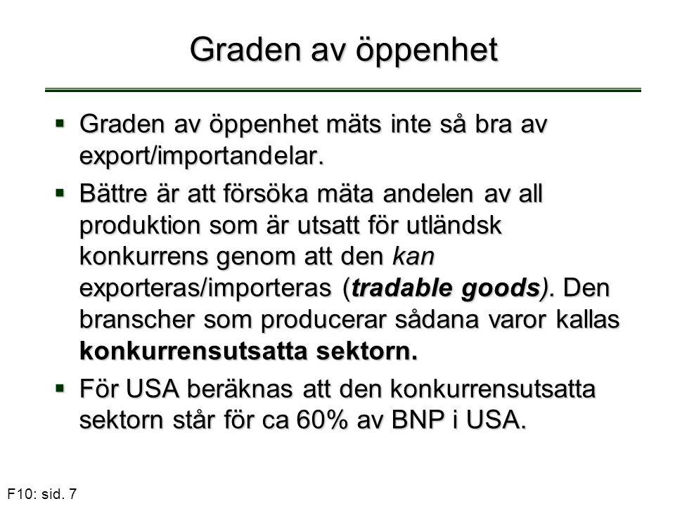 F10: sid. 7 Graden av öppenhet  Graden av öppenhet mäts inte så bra av export/importandelar.  Bättre är att försöka mäta andelen av all produktion s