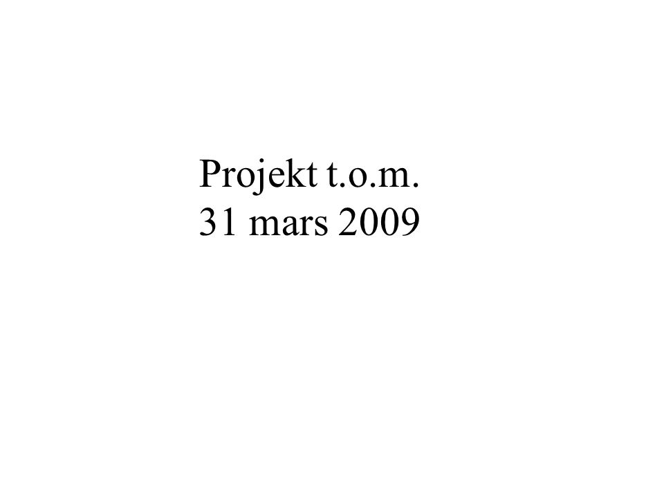 Projekt t.o.m. 31 mars 2009