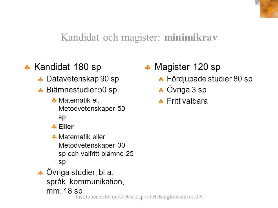 Institutionen för datavetenskap vid Helsingfors universitet Kandidat och magister: minimikrav  Kandidat 180 sp  Datavetenskap 90 sp  Biämnestudier 50 sp  Matematik el.