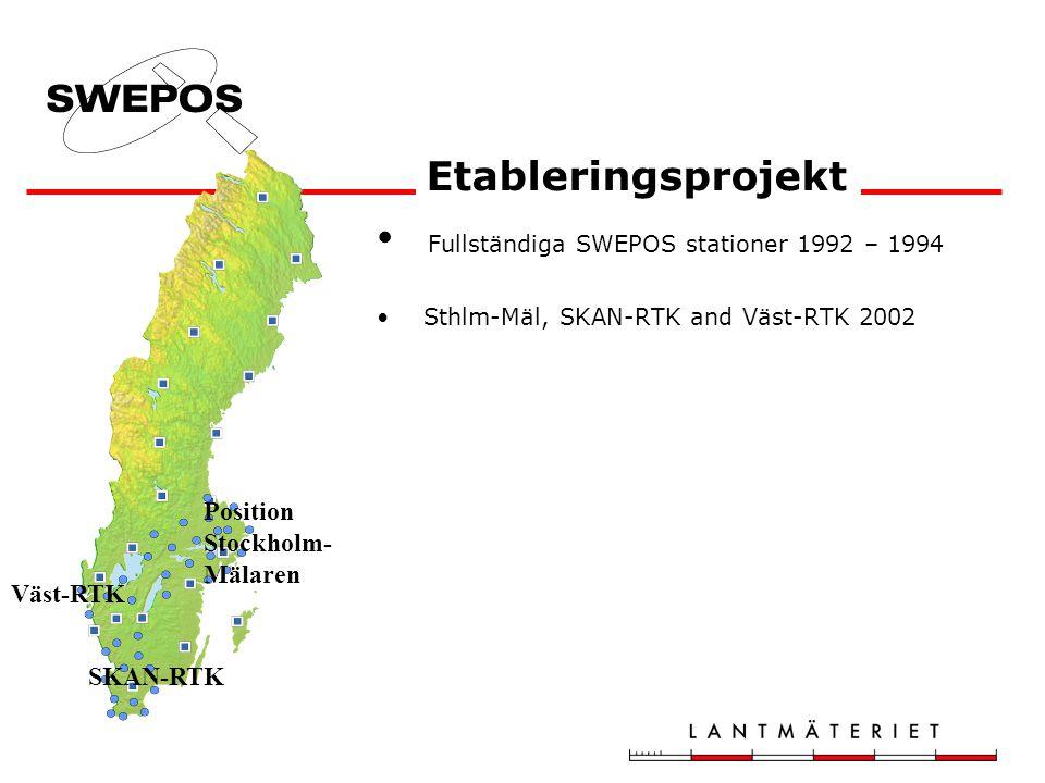 Fullständiga SWEPOS stationer 1992 – 1994 Sthlm-Mäl, SKAN-RTK and Väst-RTK 2002 Nätverks-RTK –tjänst 2004-01-01 – Etableringsprojekt