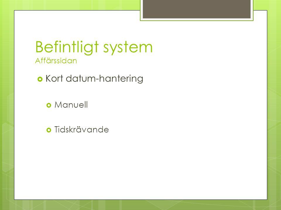 Befintligt system Affärssidan  Kort datum-hantering  Manuell  Tidskrävande
