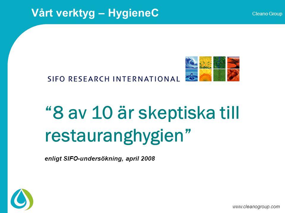 Cleano Group www.cleanogroup.com 8 av 10 är skeptiska till restauranghygien enligt SIFO-undersökning, april 2008 Vårt verktyg – HygieneC