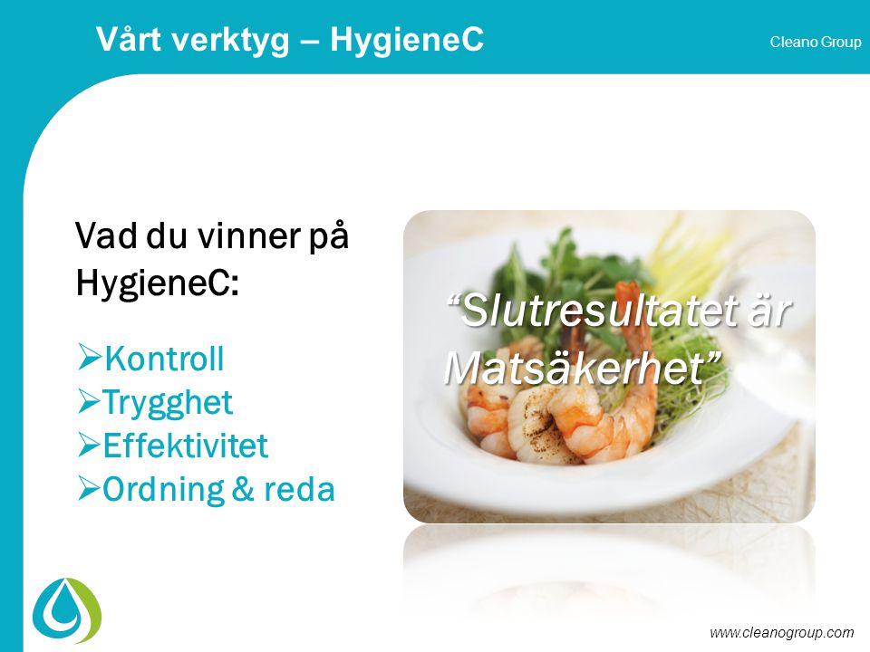 Cleano Group www.cleanogroup.com Vad du vinner på HygieneC:  Kontroll  Trygghet  Effektivitet  Ordning & reda Slutresultatet är Matsäkerhet Vårt verktyg – HygieneC
