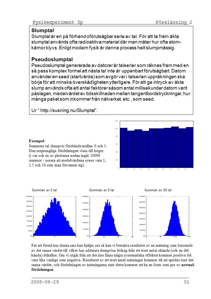 Fysikexperiment 5p Föreläsning 2 2005-08-29 01 Slumptal Slumptal är en på förhand oförutsägbar serie av tal.