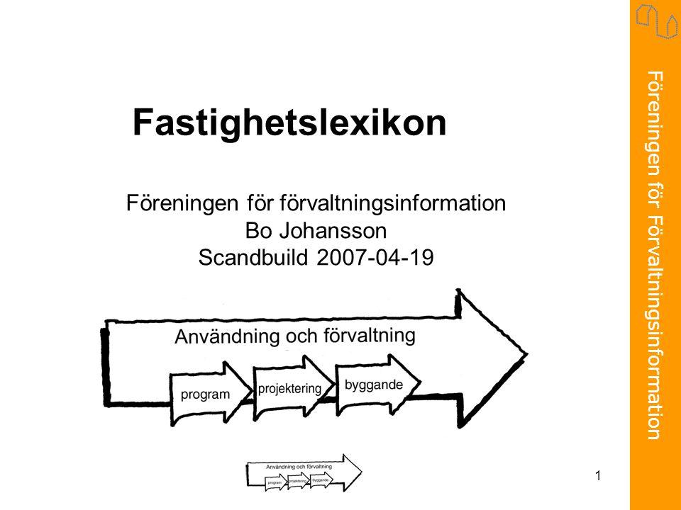 Föreningen för Förvaltningsinformation 1 Fastighetslexikon Föreningen för förvaltningsinformation Bo Johansson Scandbuild 2007-04-19