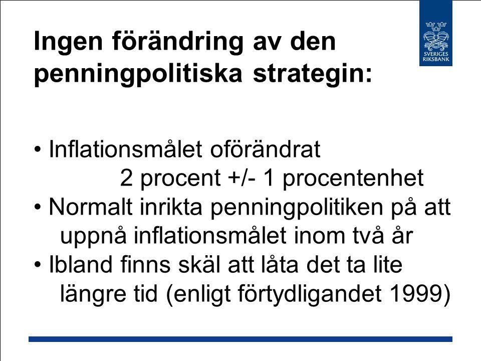 Inflationsmålet oförändrat 2 procent +/- 1 procentenhet Normalt inrikta penningpolitiken på att uppnå inflationsmålet inom två år Ibland finns skäl att låta det ta lite längre tid (enligt förtydligandet 1999) Ingen förändring av den penningpolitiska strategin: