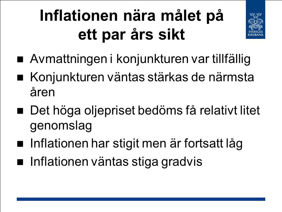 Inflationen nära målet på ett par års sikt Avmattningen i konjunkturen var tillfällig Konjunkturen väntas stärkas de närmsta åren Det höga oljepriset bedöms få relativt litet genomslag Inflationen har stigit men är fortsatt låg Inflationen väntas stiga gradvis
