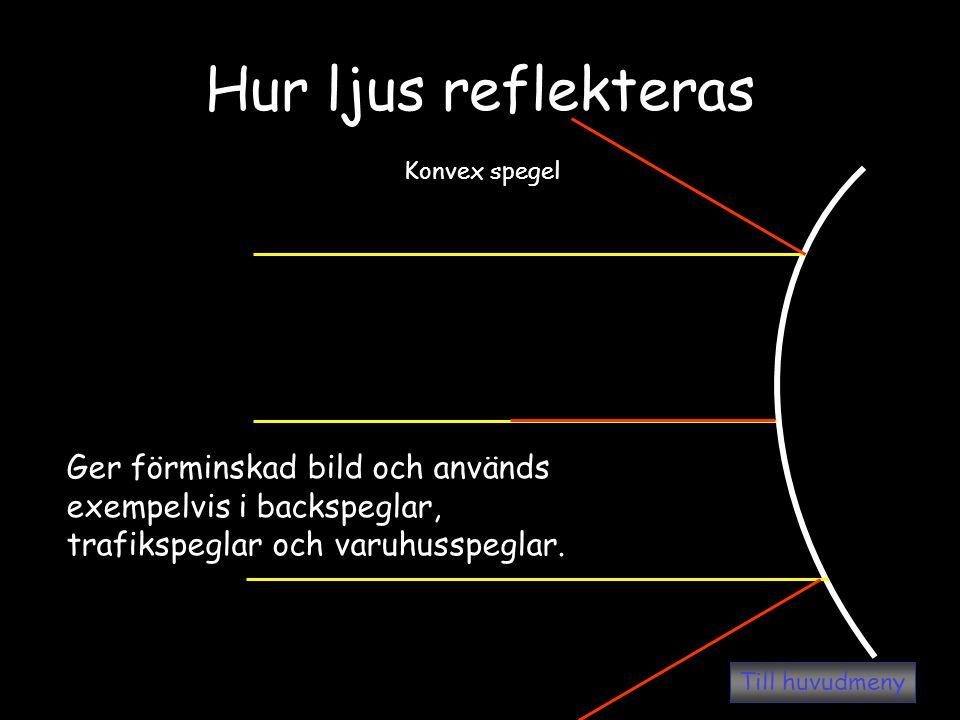 Hur ljus reflekteras Konvex spegel Ger förminskad bild och används exempelvis i backspeglar, trafikspeglar och varuhusspeglar. Till huvudmeny