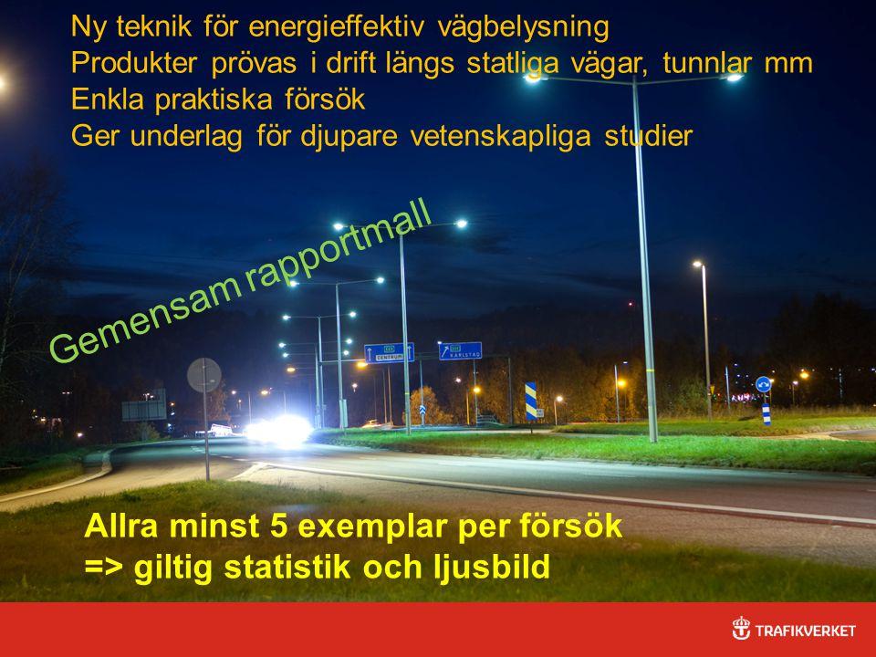 32015-04-03 Ny teknik för energieffektiv vägbelysning Produkter prövas i drift längs statliga vägar, tunnlar mm Enkla praktiska försök Ger underlag för djupare vetenskapliga studier Allra minst 5 exemplar per försök => giltig statistik och ljusbild Gemensam rapportmall