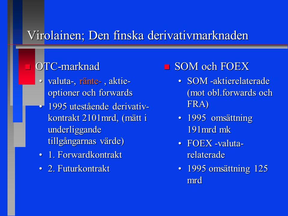 Virolainen; Den finska derivativmarknaden n OTC-marknad valuta-, ränte-, aktie- optioner och forwardsvaluta-, ränte-, aktie- optioner och forwards 1995 utestående derivativ- kontrakt 2101mrd, (mätt i underliggande tillgångarnas värde)1995 utestående derivativ- kontrakt 2101mrd, (mätt i underliggande tillgångarnas värde) 1.
