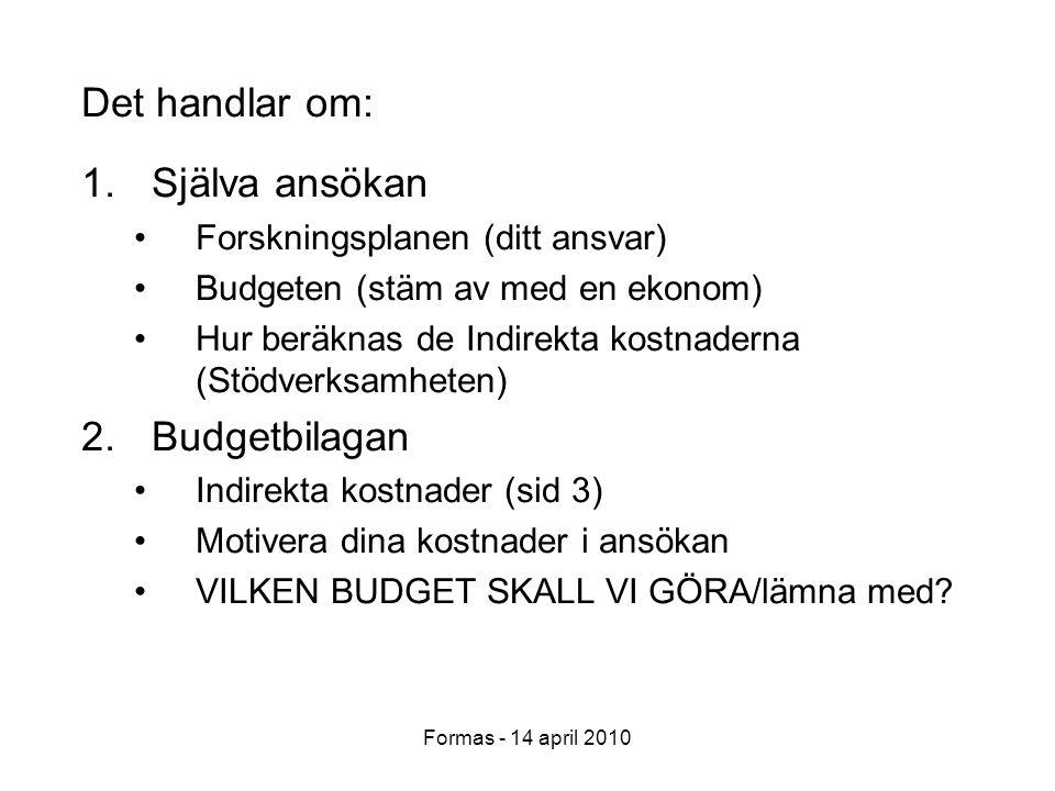 Formas - 14 april 2010 Det handlar om: 1.Själva ansökan Forskningsplanen (ditt ansvar) Budgeten (stäm av med en ekonom) Hur beräknas de Indirekta kostnaderna (Stödverksamheten) 2.Budgetbilagan Indirekta kostnader (sid 3) Motivera dina kostnader i ansökan VILKEN BUDGET SKALL VI GÖRA/lämna med