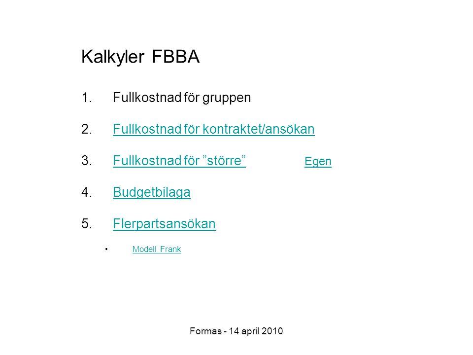 Formas - 14 april 2010 Kalkyler FBBA 1.Fullkostnad för gruppen 2.Fullkostnad för kontraktet/ansökanFullkostnad för kontraktet/ansökan 3.Fullkostnad för större Fullkostnad för större 4.BudgetbilagaBudgetbilaga 5.FlerpartsansökanFlerpartsansökan Modell Frank Egen