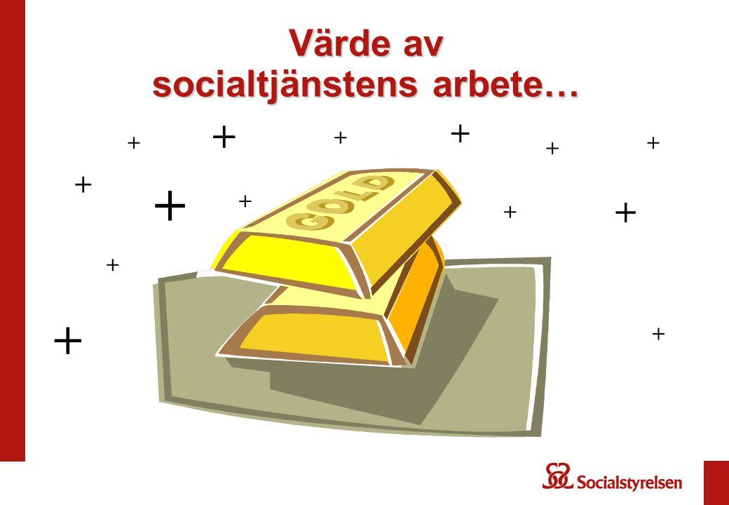Värde av socialtjänstens arbete… + + + + + + + + + + + + + +