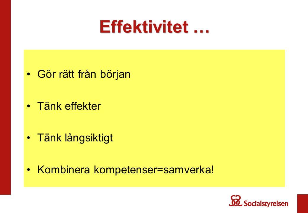 Effektivitet … Gör rätt från början Tänk effekter Tänk långsiktigt Kombinera kompetenser=samverka!
