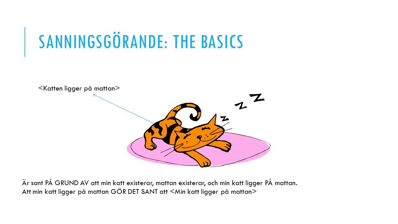 SANNINGSGÖRANDE: THE BASICS Är sant PÅ GRUND AV att min katt existerar, mattan existerar, och min katt ligger PÅ mattan.
