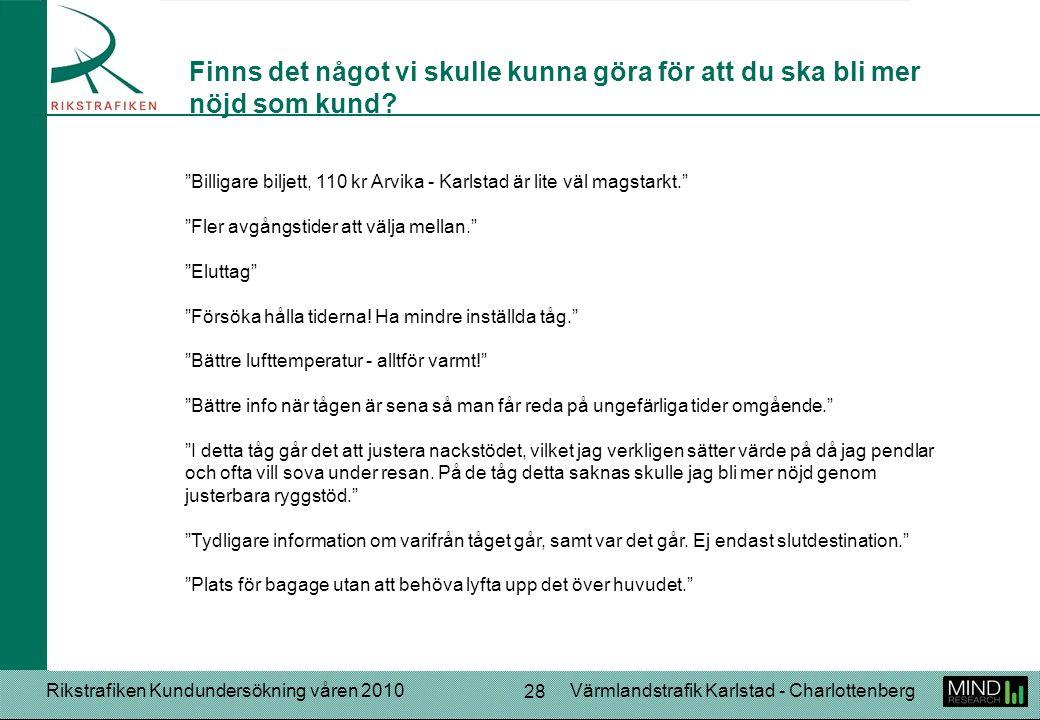 """Rikstrafiken Kundundersökning våren 2010Värmlandstrafik Karlstad - Charlottenberg 28 """"Billigare biljett, 110 kr Arvika - Karlstad är lite väl magstark"""