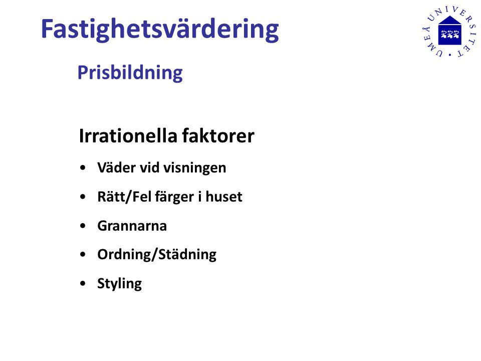 Fastighetsvärdering Prisbildning Irrationella faktorer Väder vid visningen Rätt/Fel färger i huset Grannarna Ordning/Städning Styling