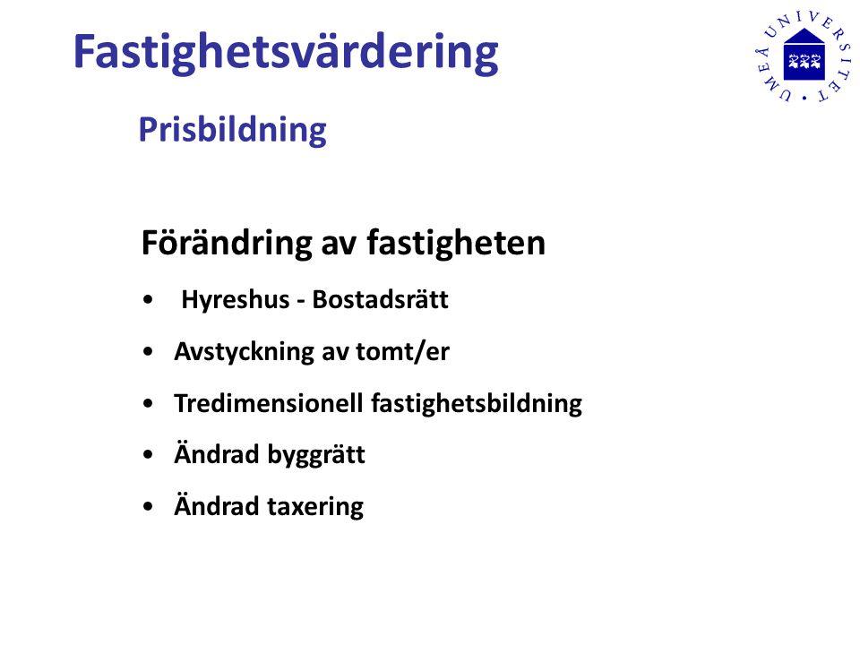Fastighetsvärdering Prisbildning Förändring av fastigheten Hyreshus - Bostadsrätt Avstyckning av tomt/er Tredimensionell fastighetsbildning Ändrad byggrätt Ändrad taxering