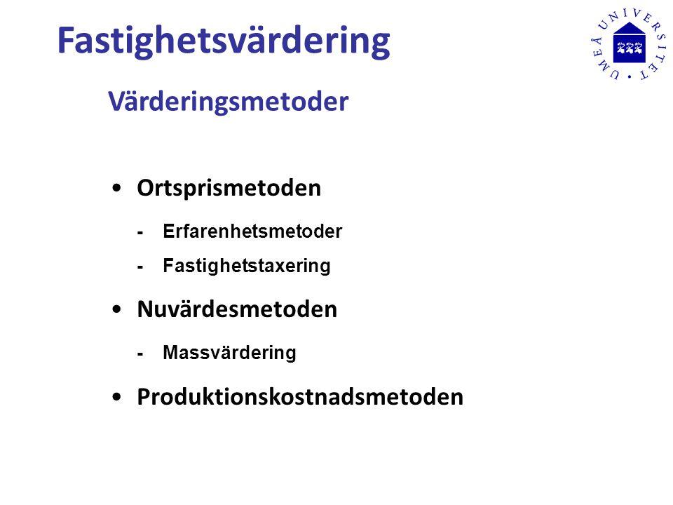 Fastighetsvärdering Värderingsmetoder Ortsprismetoden -Erfarenhetsmetoder -Fastighetstaxering Nuvärdesmetoden -Massvärdering Produktionskostnadsmetoden