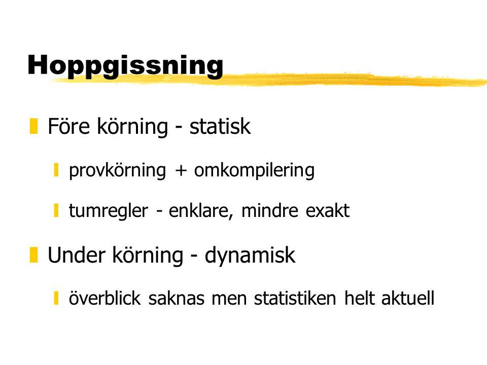 Hoppgissning zFöre körning - statisk yprovkörning + omkompilering ytumregler - enklare, mindre exakt zUnder körning - dynamisk yöverblick saknas men statistiken helt aktuell