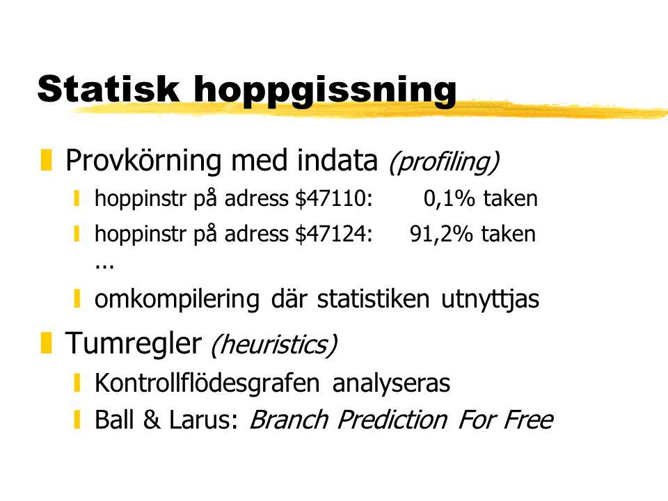 Statisk hoppgissning zProvkörning med indata (profiling) yhoppinstr på adress $47110: 0,1% taken yhoppinstr på adress $47124:91,2% taken...