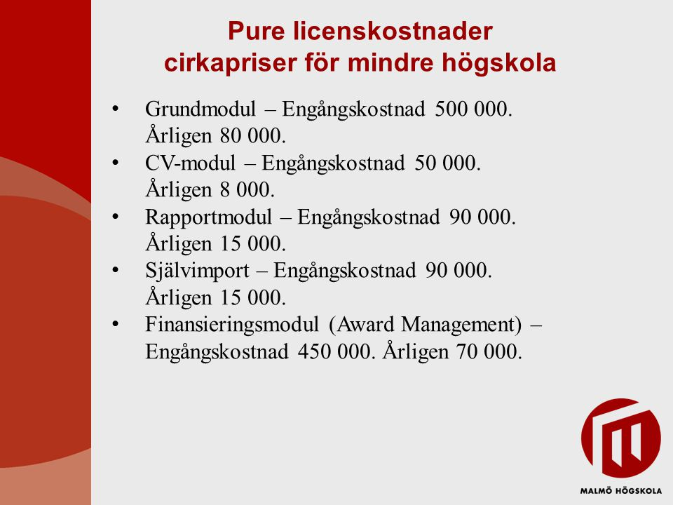 Pure licenskostnader cirkapriser för mindre högskola Grundmodul – Engångskostnad 500 000.