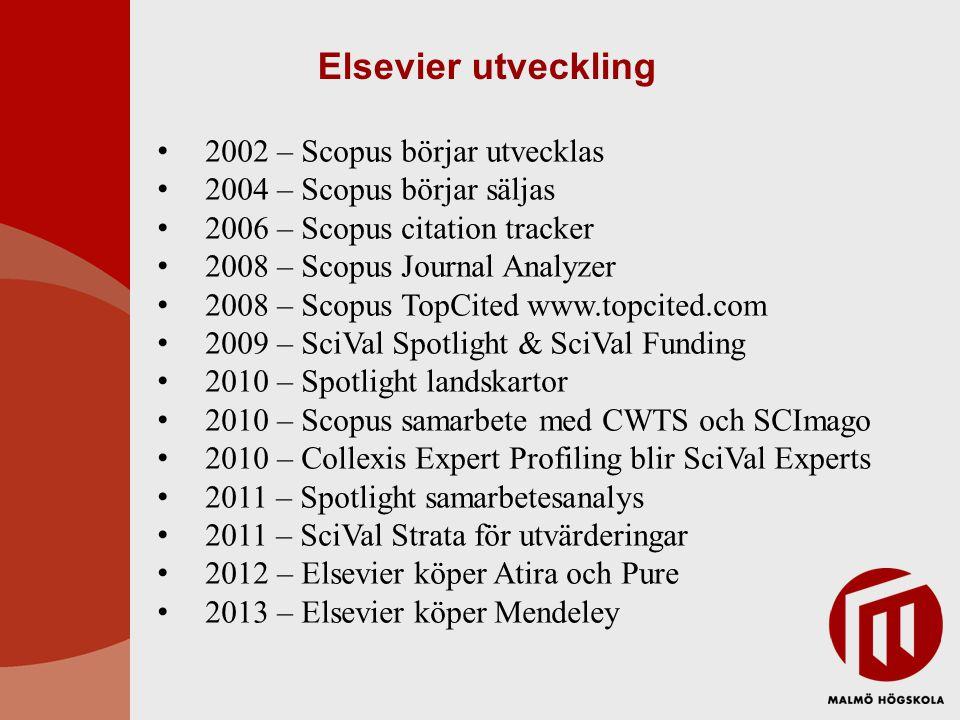 Elsevier utveckling 2002 – Scopus börjar utvecklas 2004 – Scopus börjar säljas 2006 – Scopus citation tracker 2008 – Scopus Journal Analyzer 2008 – Scopus TopCited www.topcited.com 2009 – SciVal Spotlight & SciVal Funding 2010 – Spotlight landskartor 2010 – Scopus samarbete med CWTS och SCImago 2010 – Collexis Expert Profiling blir SciVal Experts 2011 – Spotlight samarbetesanalys 2011 – SciVal Strata för utvärderingar 2012 – Elsevier köper Atira och Pure 2013 – Elsevier köper Mendeley