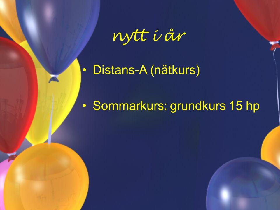 nytt i år Distans-A (nätkurs) Sommarkurs: grundkurs 15 hp