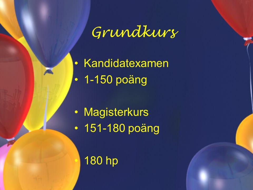 Grundkurs Kandidatexamen 1-150 poäng Magisterkurs 151-180 poäng 180 hp
