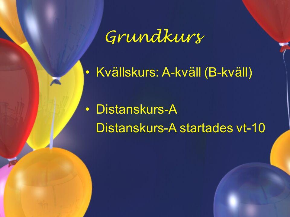 Grundkurs Kvällskurs: A-kväll (B-kväll) Distanskurs-A Distanskurs-A startades vt-10