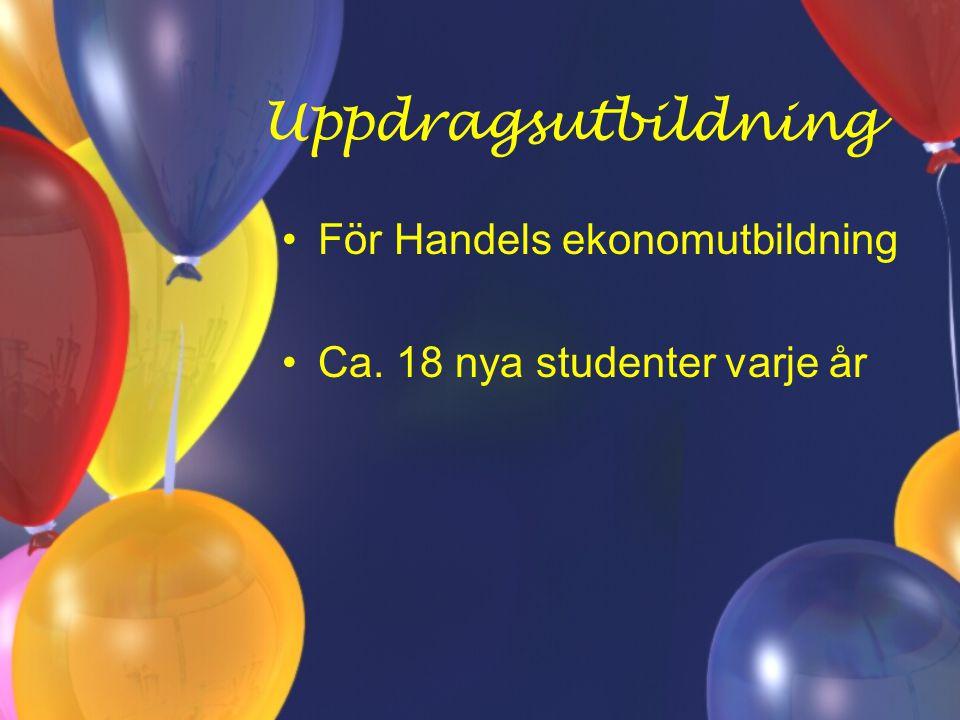 Uppdragsutbildning För Handels ekonomutbildning Ca. 18 nya studenter varje år