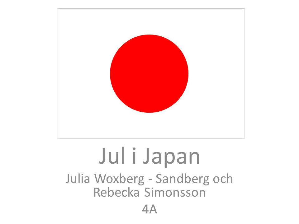 Jul i Japan Av: Jul i Japan Julia Woxberg - Sandberg och Rebecka Simonsson 4A